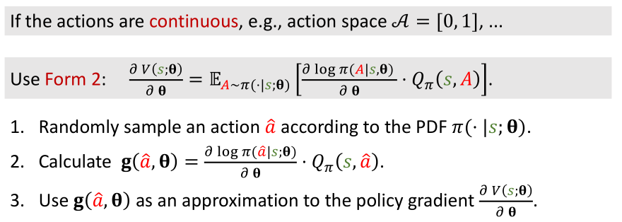 continuous policy gradient