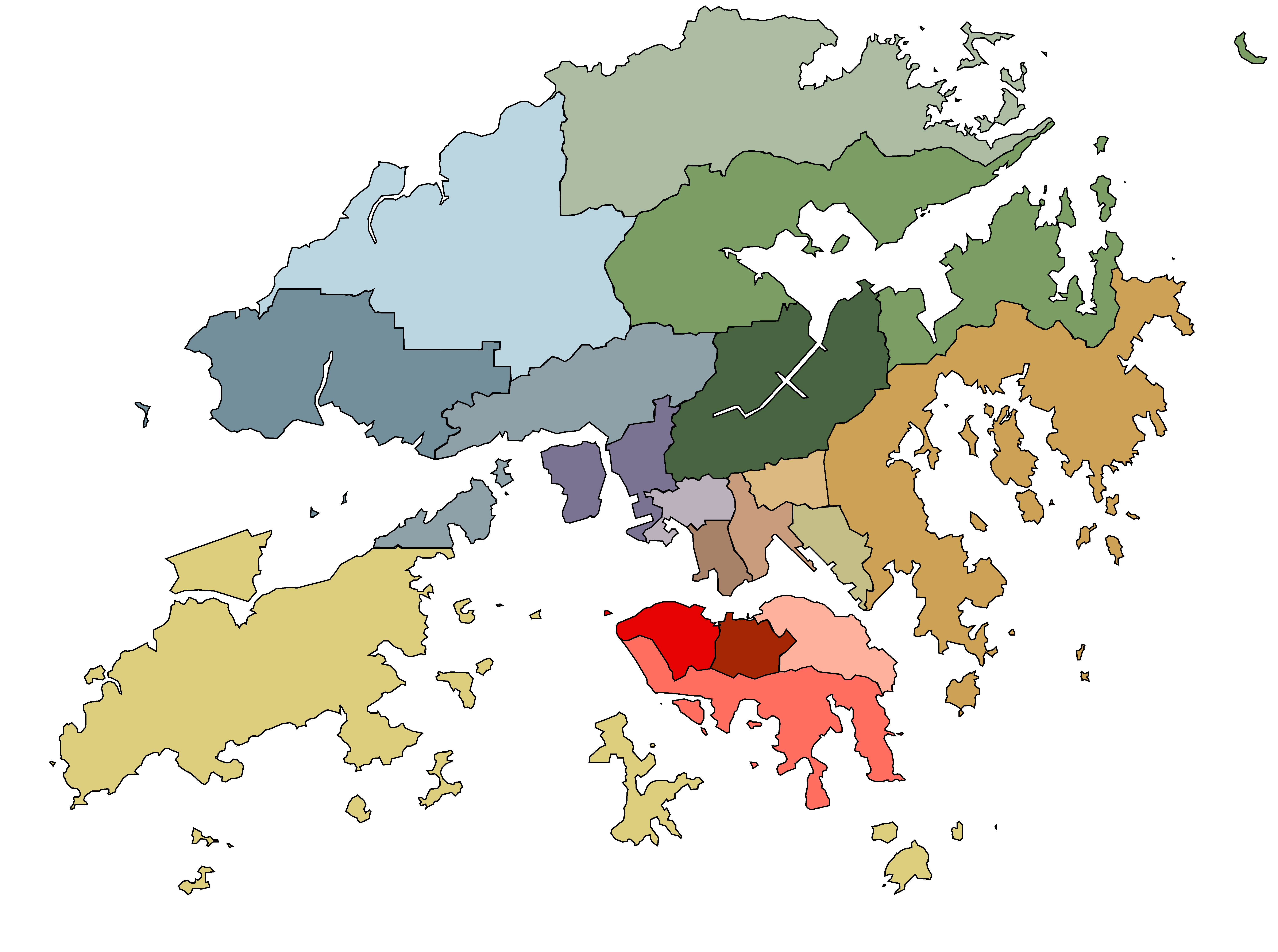A map of Hong Kong's 18 District Councils. Illustration by Ocean Cheung