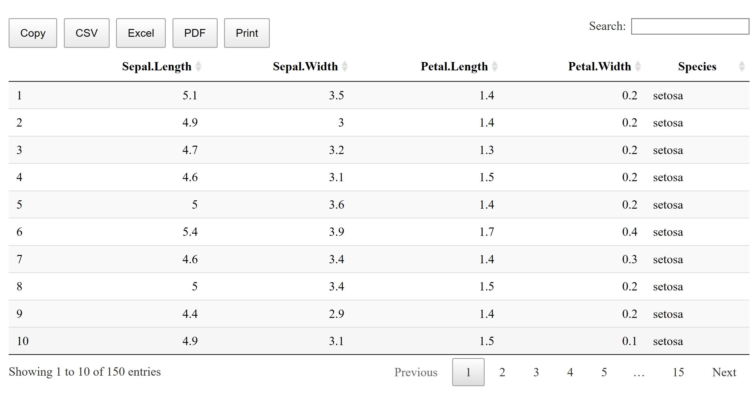 R markdown data table scroll