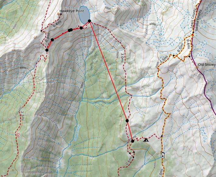 APRS Track Detail at Snowgrass Flats