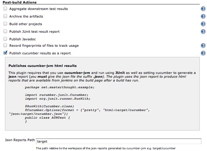 check the publish cucumber-jvm-reports box