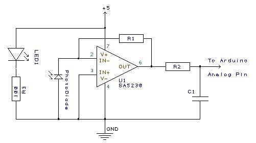 Schema circuitale del Pulse Sensor [9].