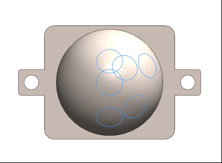 Fig. 20 - Vista parallela alla piastrina di accoppiamento dello schizzo 3D delle varie curve di intersezione