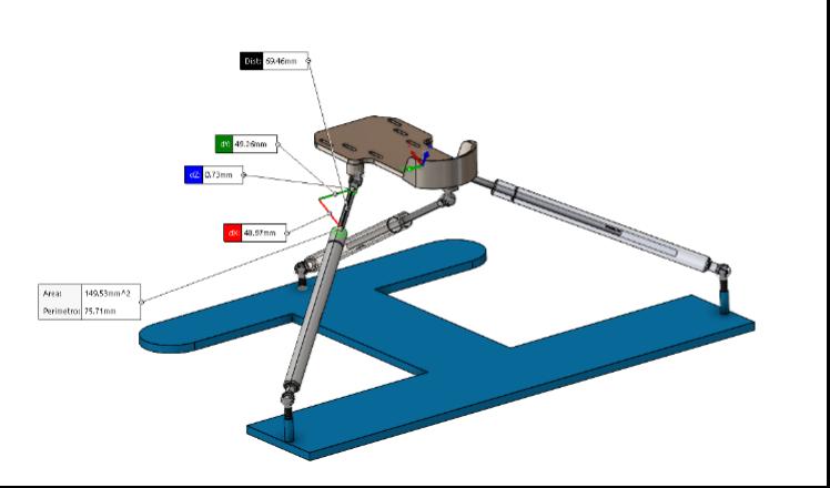 Fig. 22 – Assieme bozza utilizzato per fare diverse misure e verifiche Per quanto riguarda il perno con la testa sferica di diametro 10mm è stato prima ricostruito rispettando le dimensioni da catalogo, quindi considerando un perno con filettatura M8x1,25 di 13 mm e un'altezza totale di 28 mm.