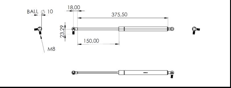 Fig. 23 – Pistone centrale modificato con le misure offerte dal catalogo Stabilus ©