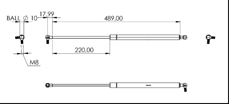 Fig. 24 – Pistone laterale modificato con le misure offerte dal catalogo Stabilus ©.