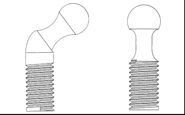 Fig. 25 – Perni con testa sferica. A sinistra quello tra pistoni laterali e base e a destra quello tra i pistoni e i restanti punti di collegamento.