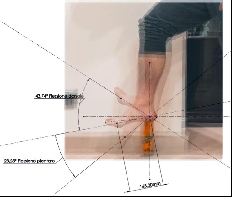 Fig. 6 - Misurazione in SOLIDWORKS © delle rotazioni nel caso di flessione plantare e dorsale mediante le rette passanti per i marker.