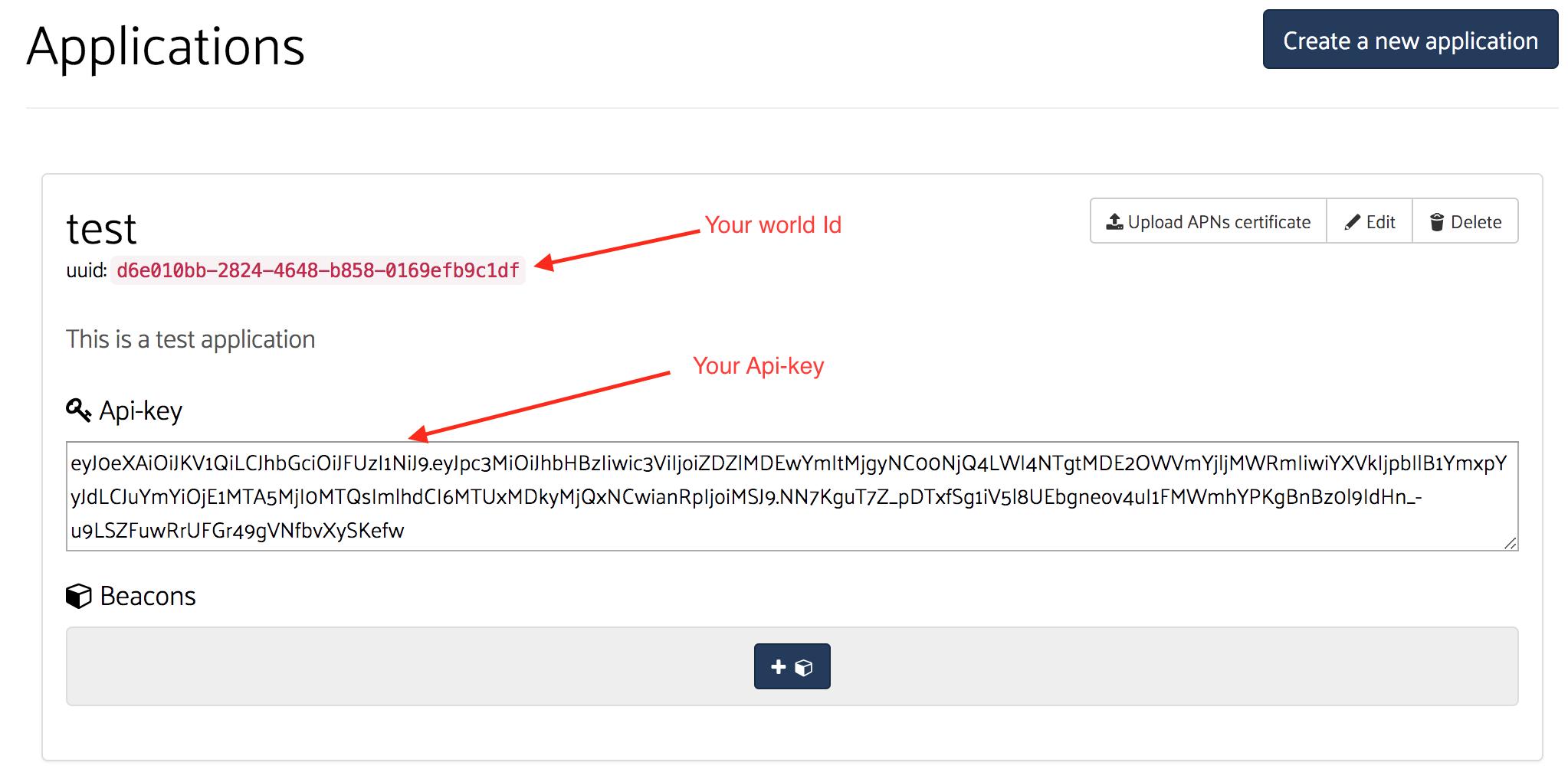 your first app api-key