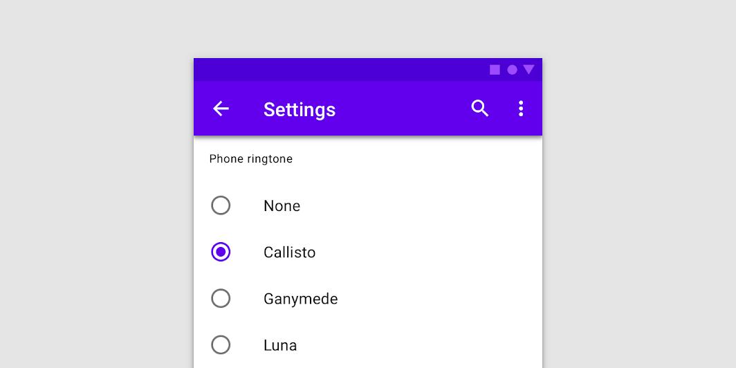 Radio button hero example for menu options