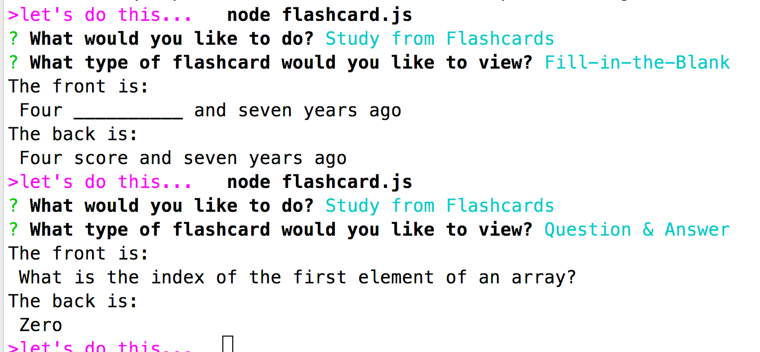 viewing flashcards
