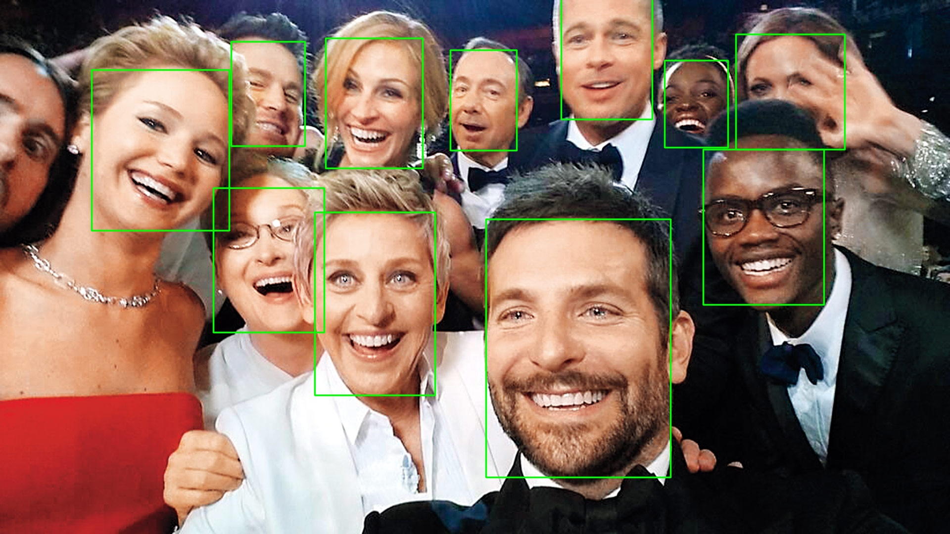 Image with all the faces marked by a green rectangle