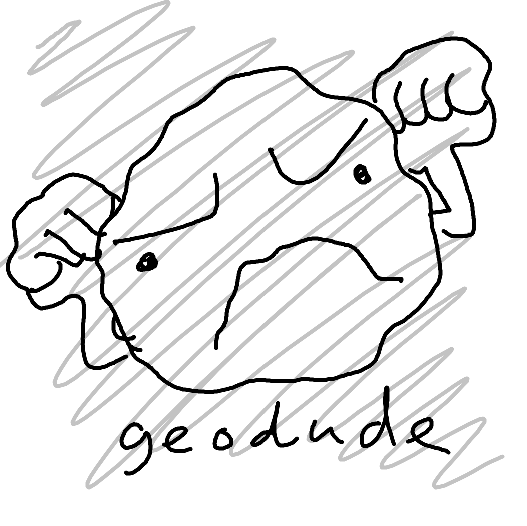 A hand-drawn image of the Pokemon Geodude