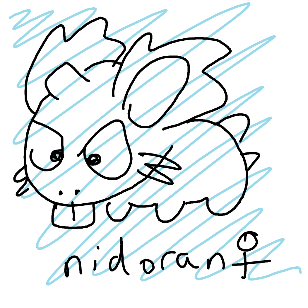 A hand-drawn image of the Pokemon Nidoran