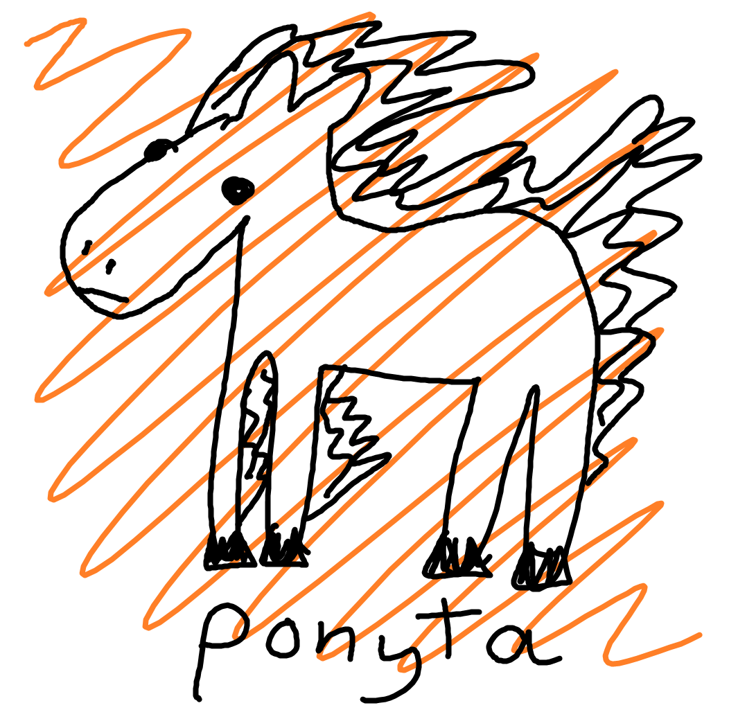 A hand-drawn image of the Pokemon Ponyta