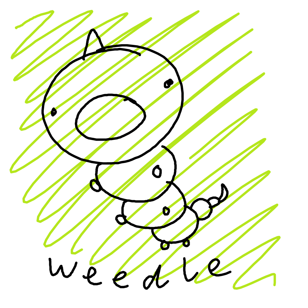 A hand-drawn image of the Pokemon Weedle
