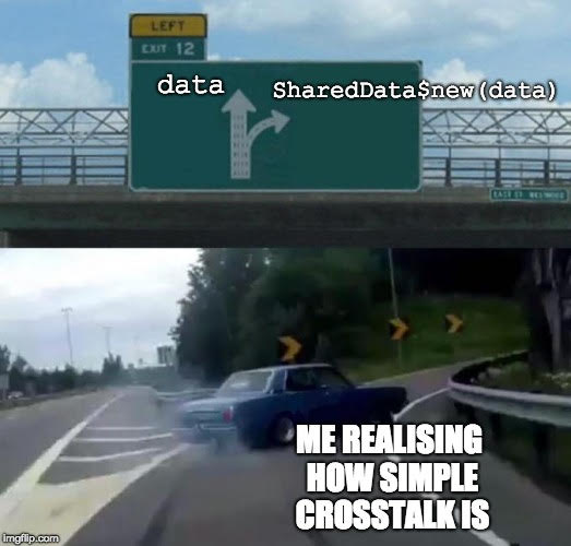 A car labelled 'me realising how simple Crosstalk is' swerves off the freeway, labelled 'data', onto the off-ramp labelled 'SharedData$new(data)'.