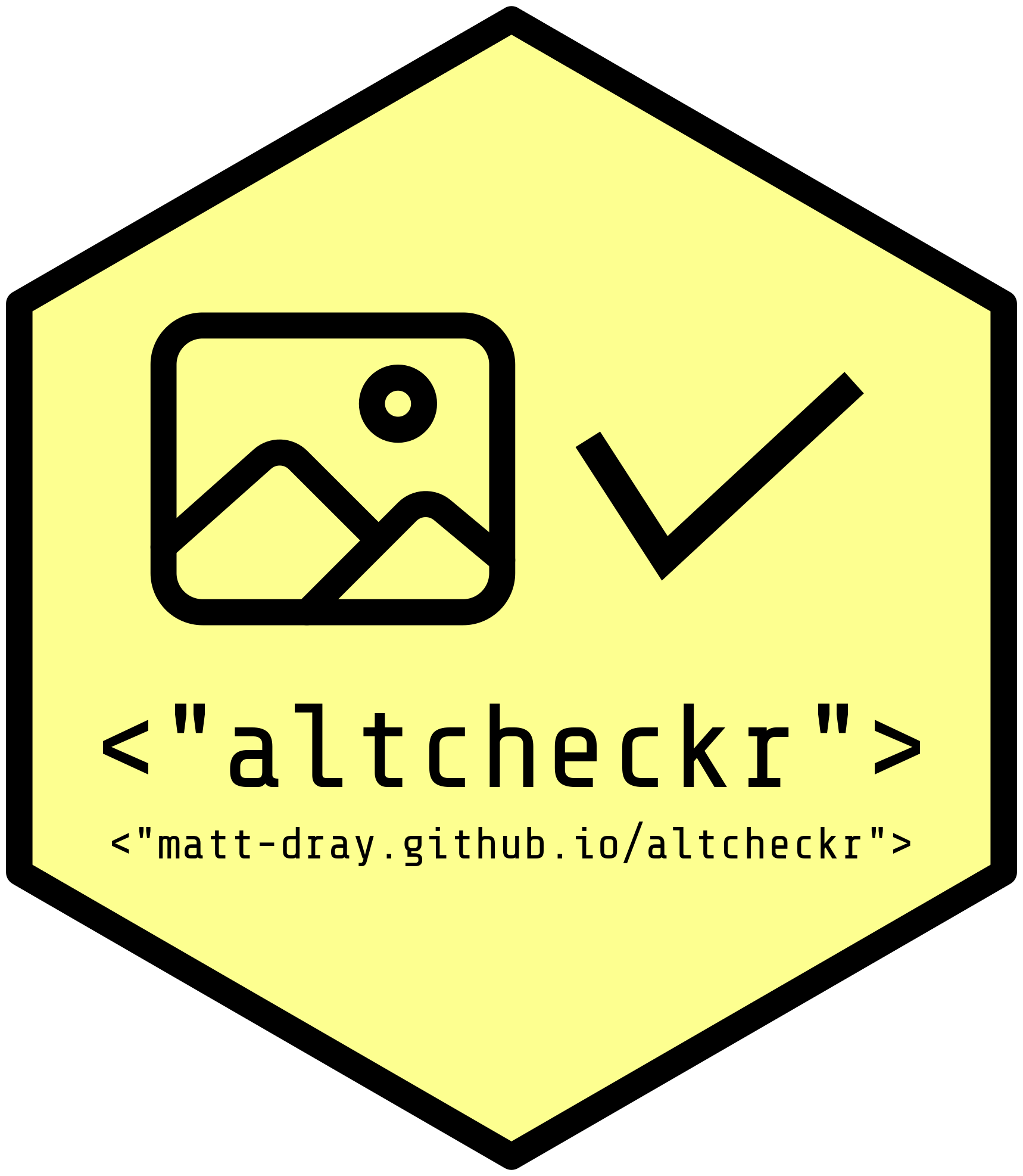 Hex sticker for altchecker, with the package name, a checkmark and the URL matt-dray.github.io/altcheckr.