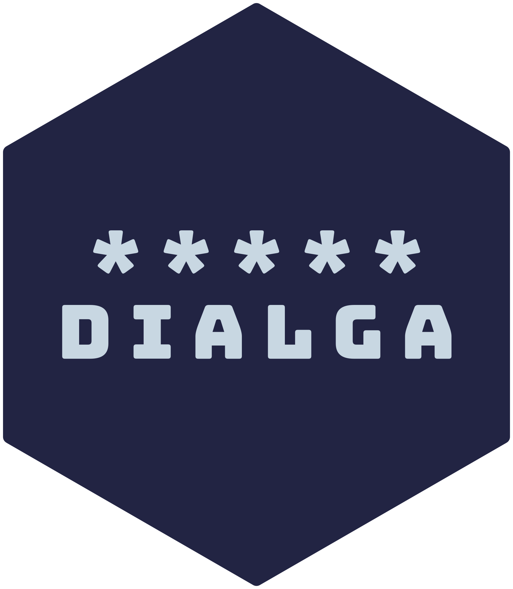Hexagonal logo for the dialga package showing the package name underneath the five asterisks of a cron string that represents an 'every minute' schedule.