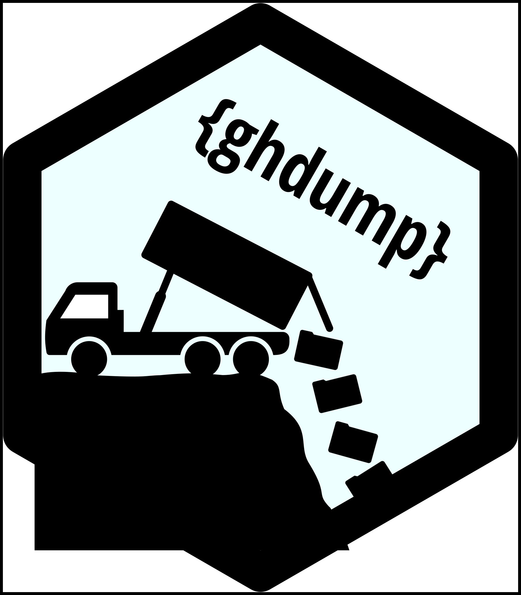 A silhouette of a dump truck dumping trash bags.