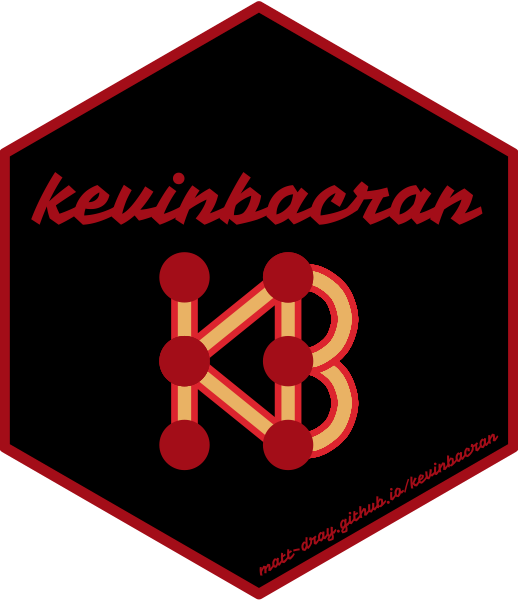 A hex sticker that says the package name 'kevinbacran' and a small graph where the edges join to spell 'KB' and are coloured like bacon.