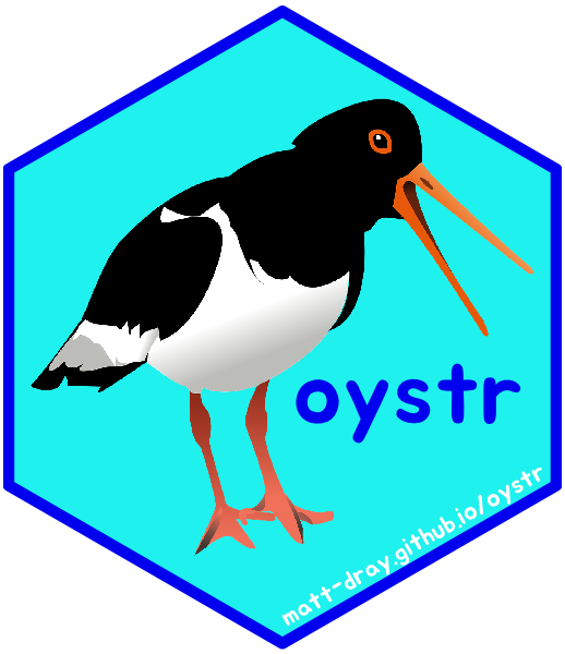 A hexagon-shaped sticker for the oystr package, featuring an oystercatcher bird and a link to matt-dray.github.io/oystr.
