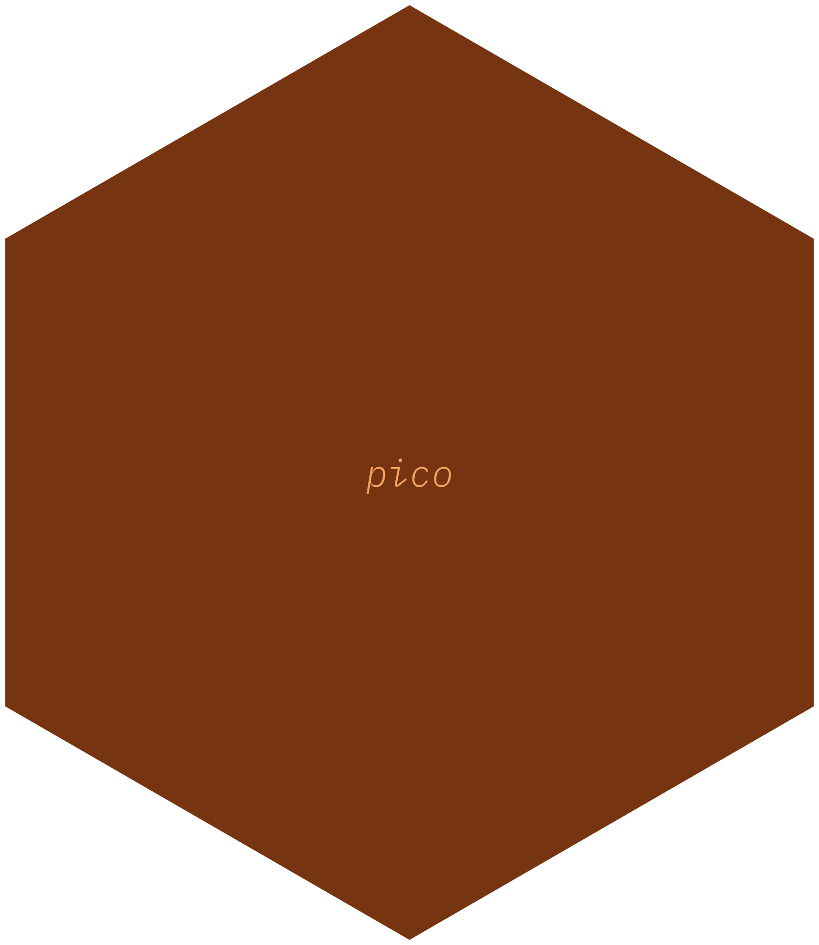 Hexagonal logo for the pico package with the package name in very small font in light brown on a darker brown background.