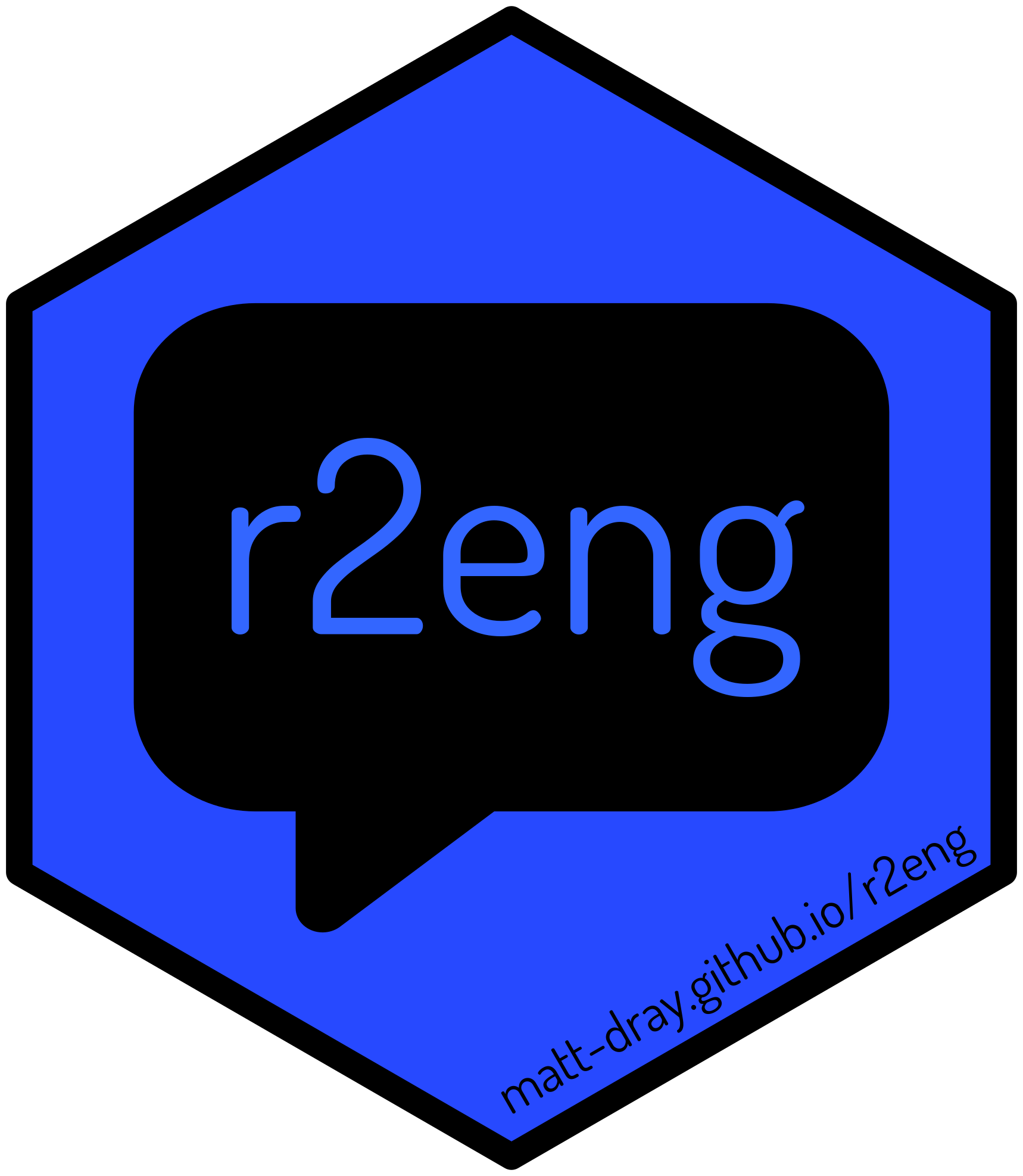Hexagonal logo for the r2eng package showing the package name inside a speech bubble with the URL matt-dray.github.io/r2eng.