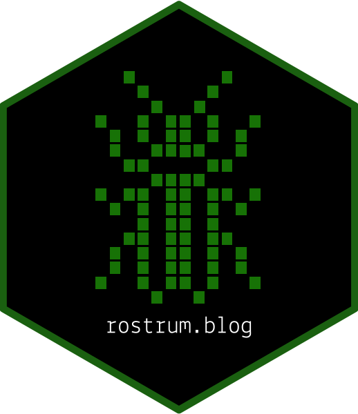 Hexagonal sticker with pixel-art of the the rostrum.blog insect logo on it.