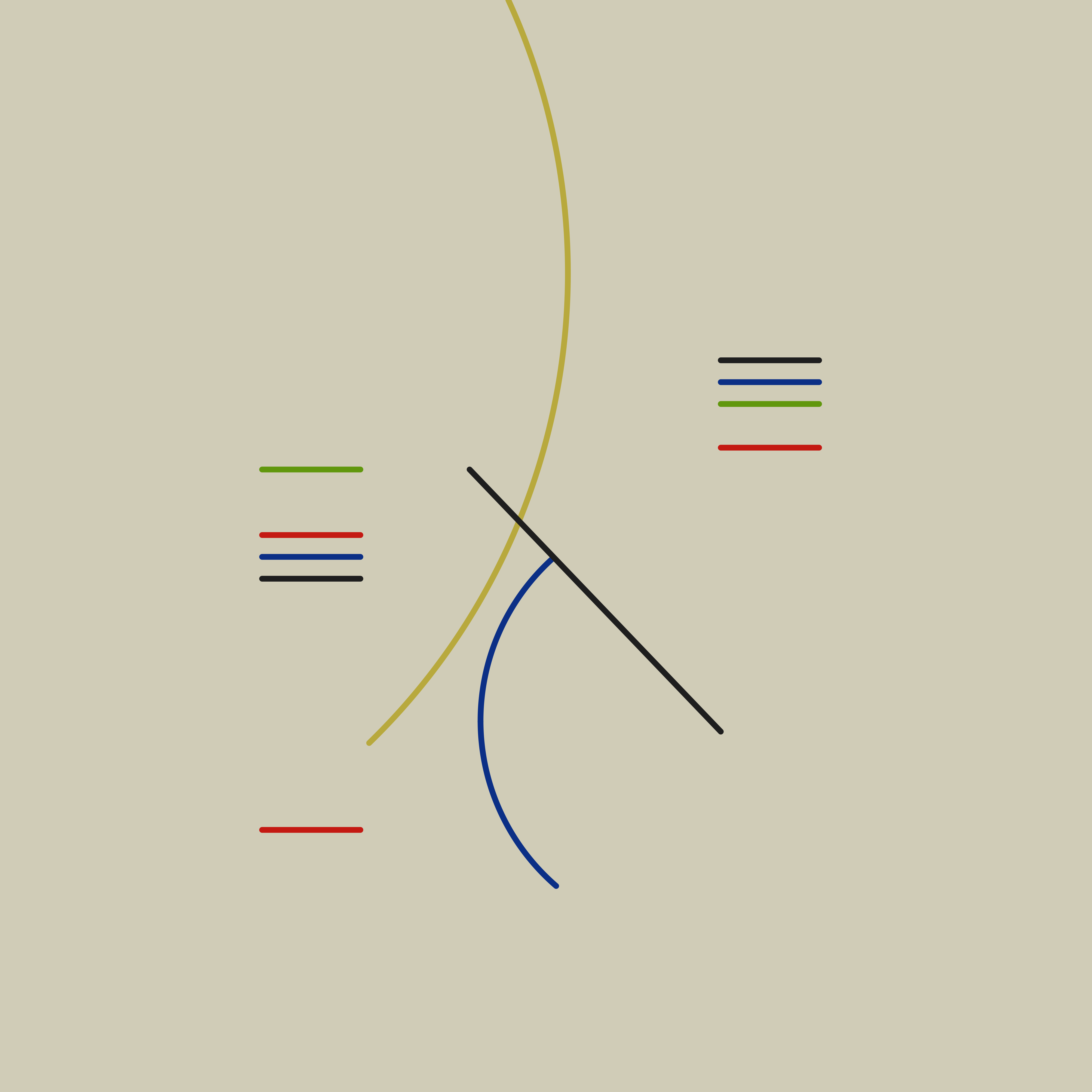 A recreation of Curves and Straight Lines (1948) by Alfred Hlito, which is an oil painting of colorful geometric lines on a cream background. Starting at the top of the painting in the middle there is a dark yellow curve. Intersecting it in the center of the painting is a black line at a 45 degree angle and a dark blue curve. In the top right of the center area there are short horizontal black blue green and red lines. In the top left of the center area are horizontal green red blue and black lines. In the bottom left of the center there is a short horizontal red line.