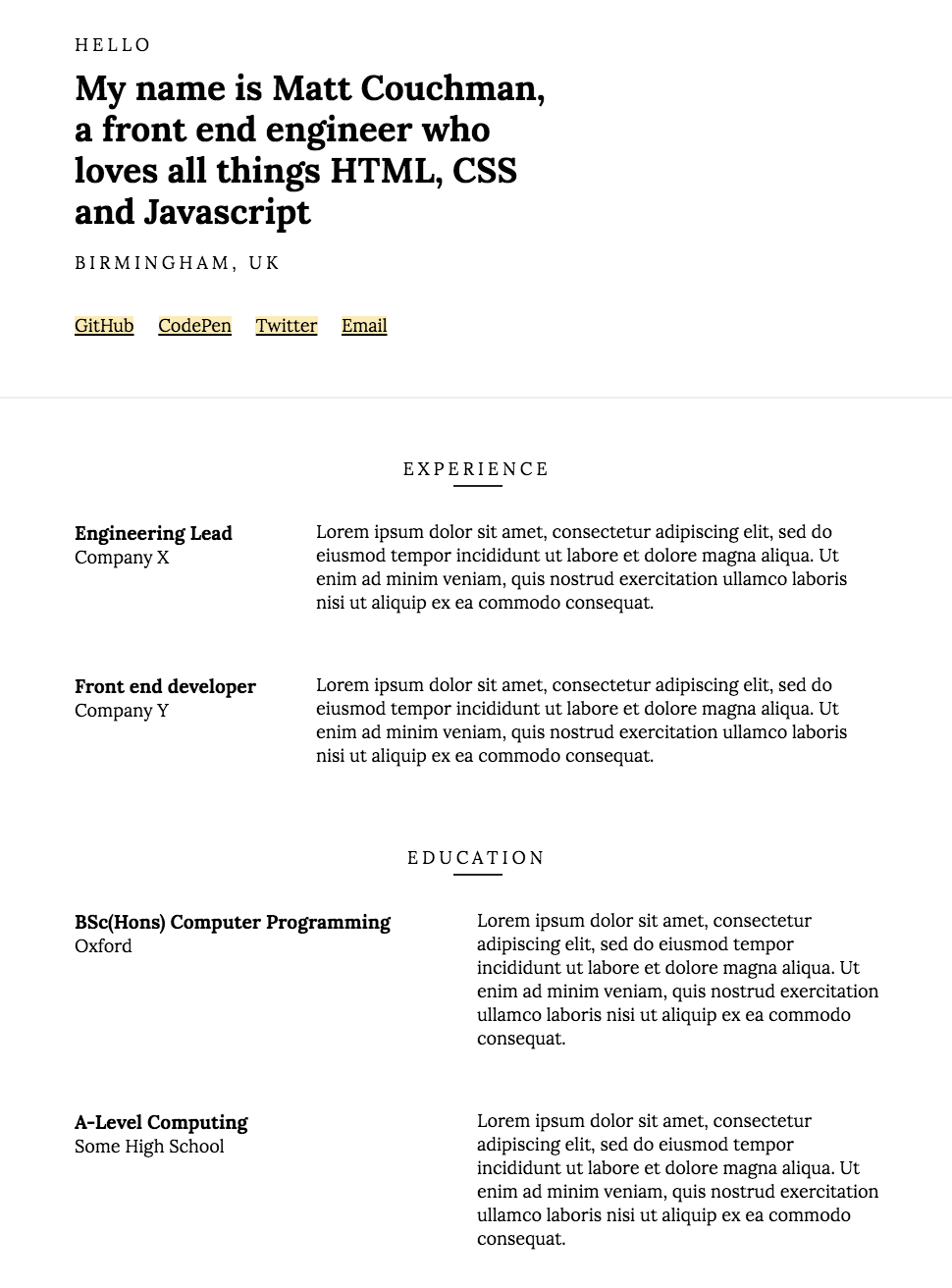 Screenshot of resume theme