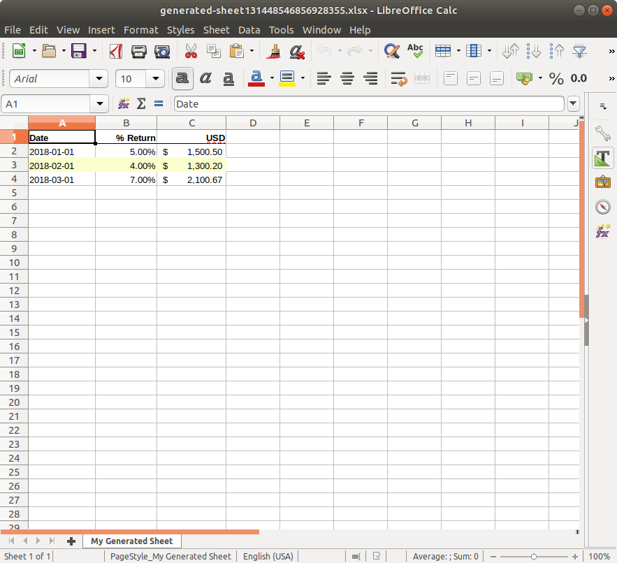 an excel sheet with a highlighted row