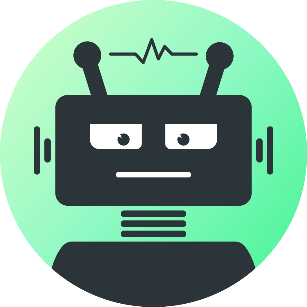The Robot logo, with green background.