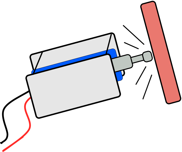 A line-drawing of a solenoid striking a surface.