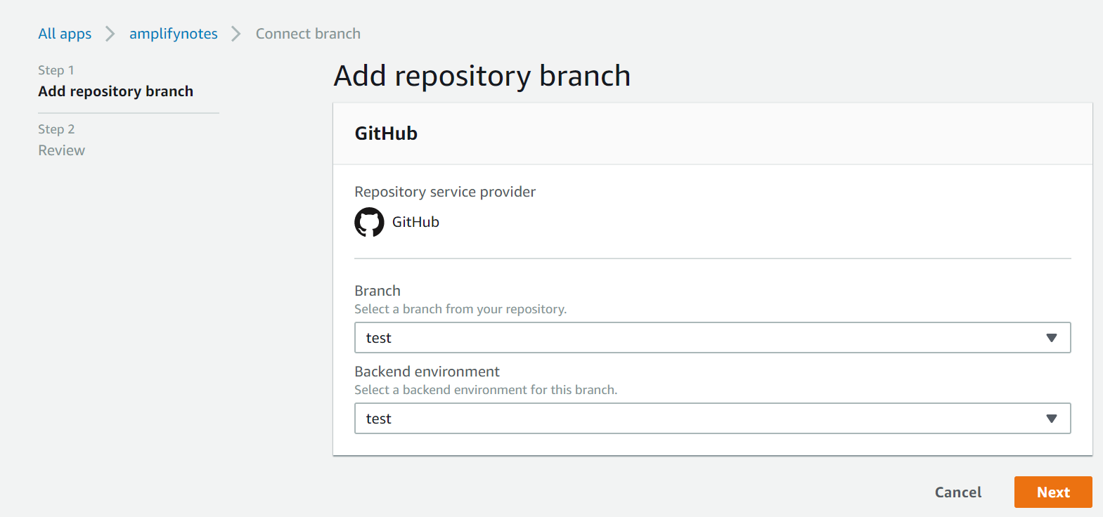 Select Branch and Backend