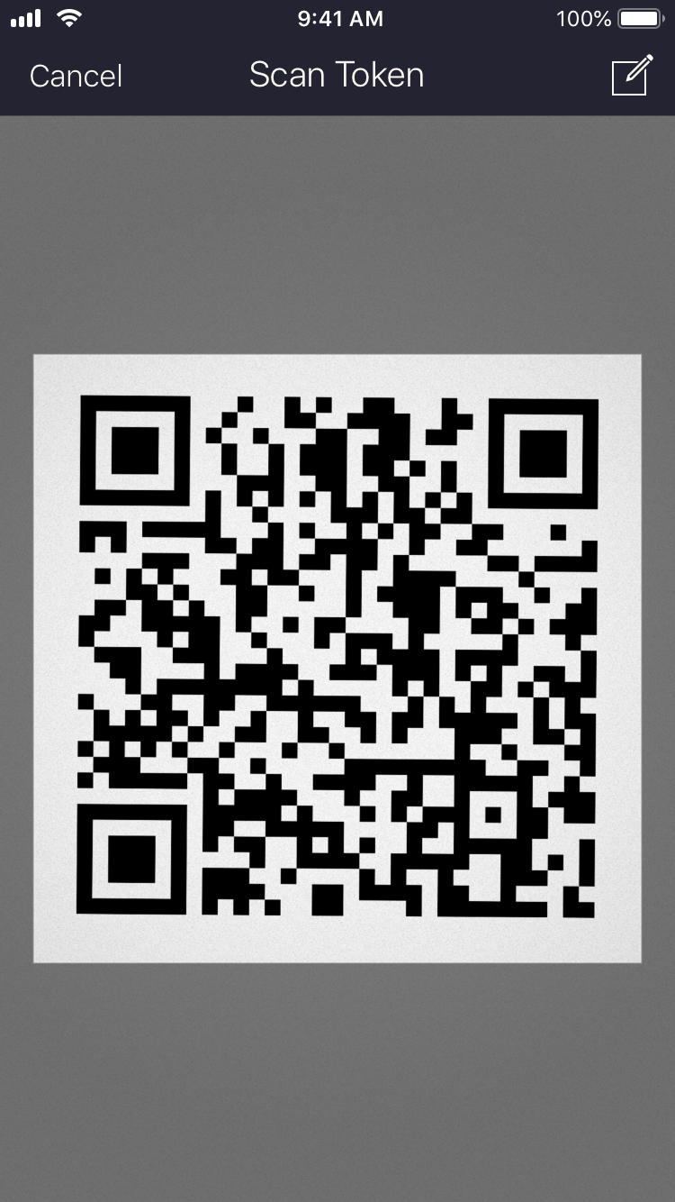 Screenshot of the Authenticator QR Code scanner