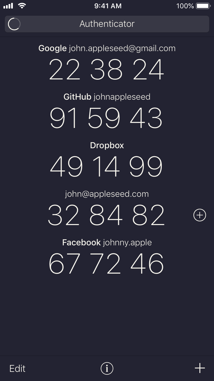 Screenshot of the Authenticator token list