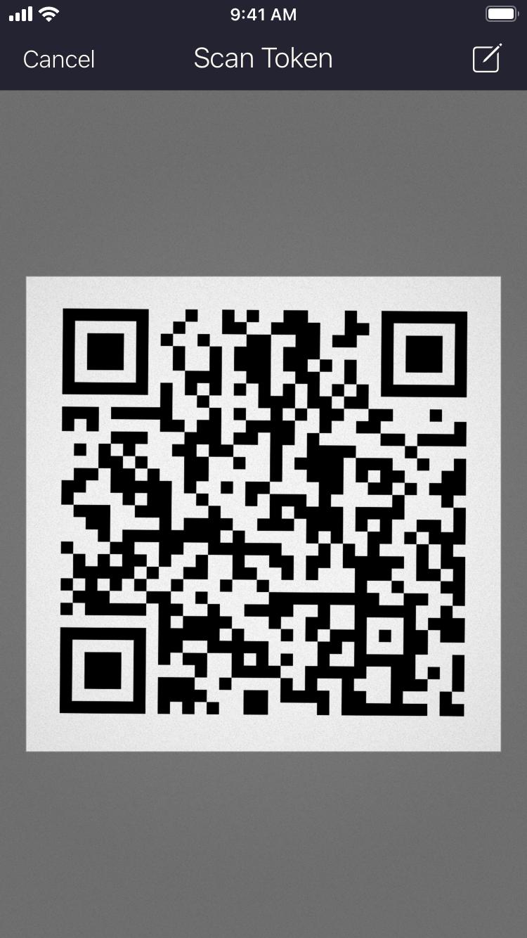 Screenshot of the Authenticator QR Code scanner
