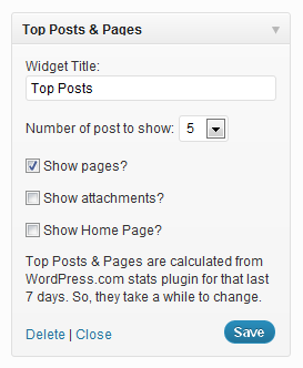 The widgets options in the dashboard.