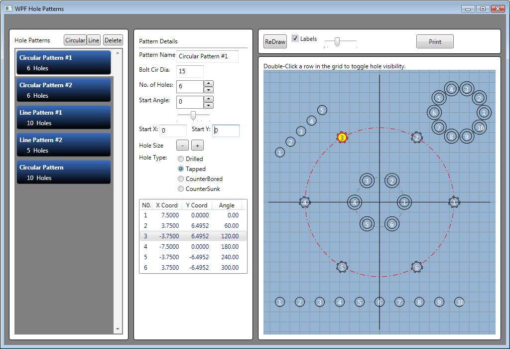 WPF Hole Patterns screenshot