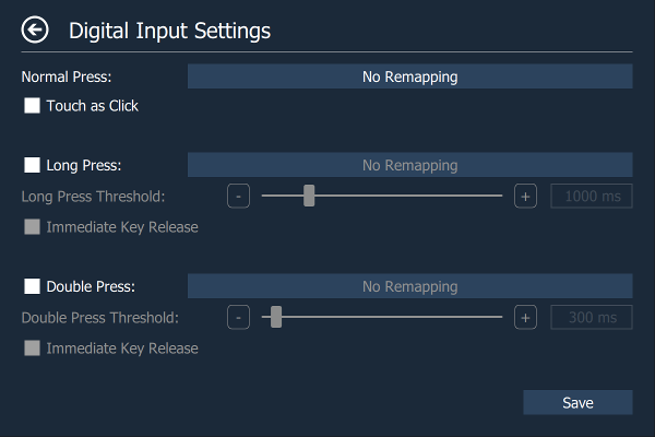 Digital Input Settings Page
