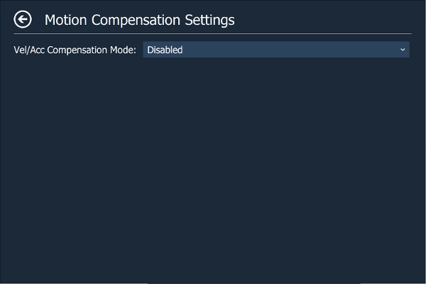 Motion Compensation Settings Page