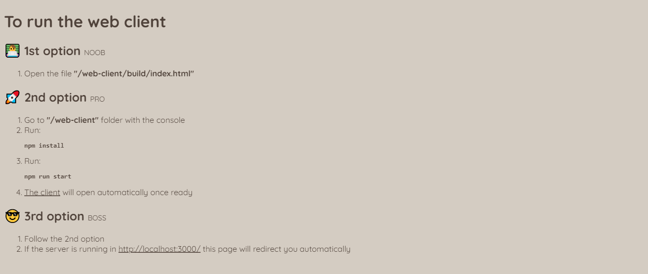 Web client run instructions