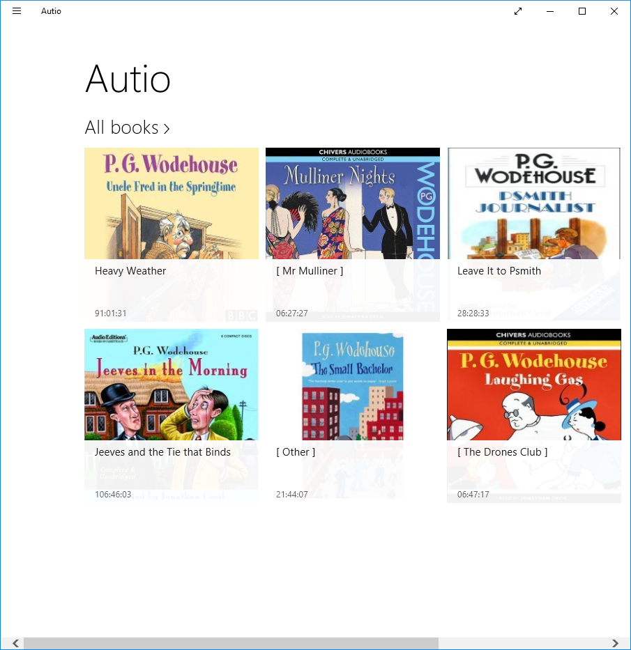Audiobook selection page