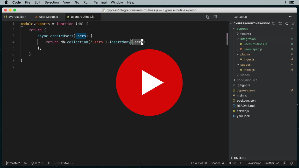 cypress-routines screencast