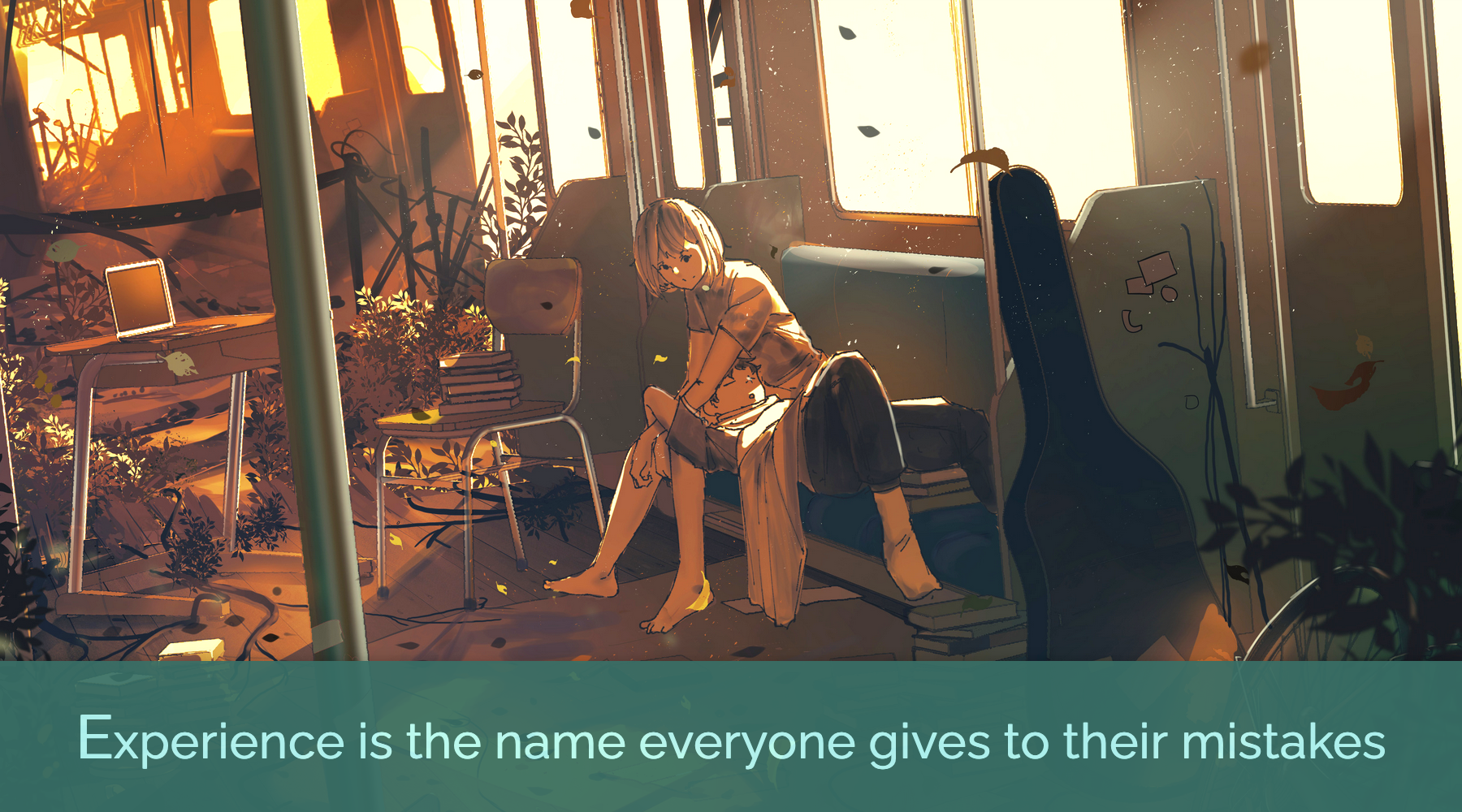 The quote 'experience is the name everyone gives to their mistakes' paired with a surreal image of two people on a train.