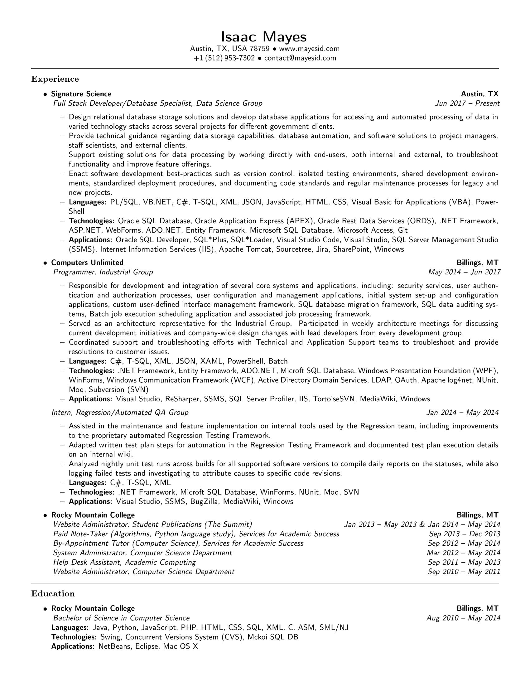 github  resume isaacmayes  isaac mayes u0026 39 s