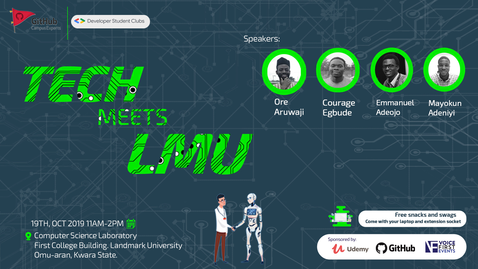 A meetup organized by the Developer Student Club (DSC) Landmark University and GitHub Campus Experts.