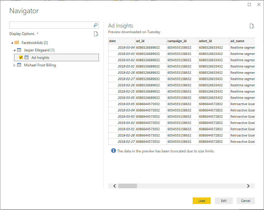 The Facebook Ads Insight Connector in Power BI