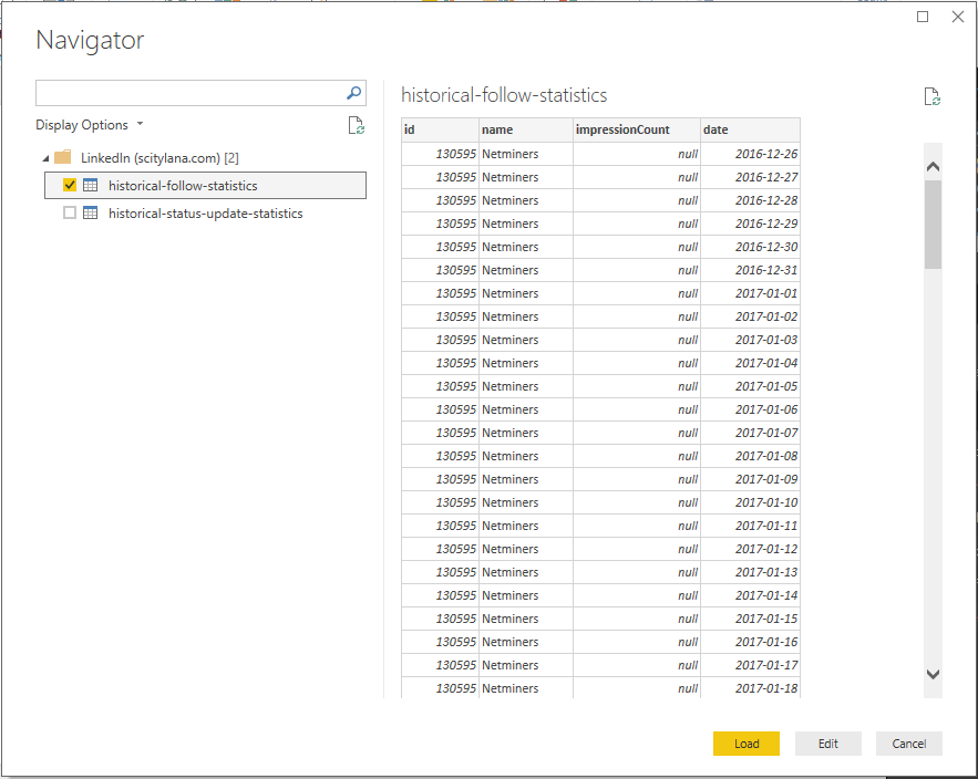 The LinkedIn Connector in Power BI